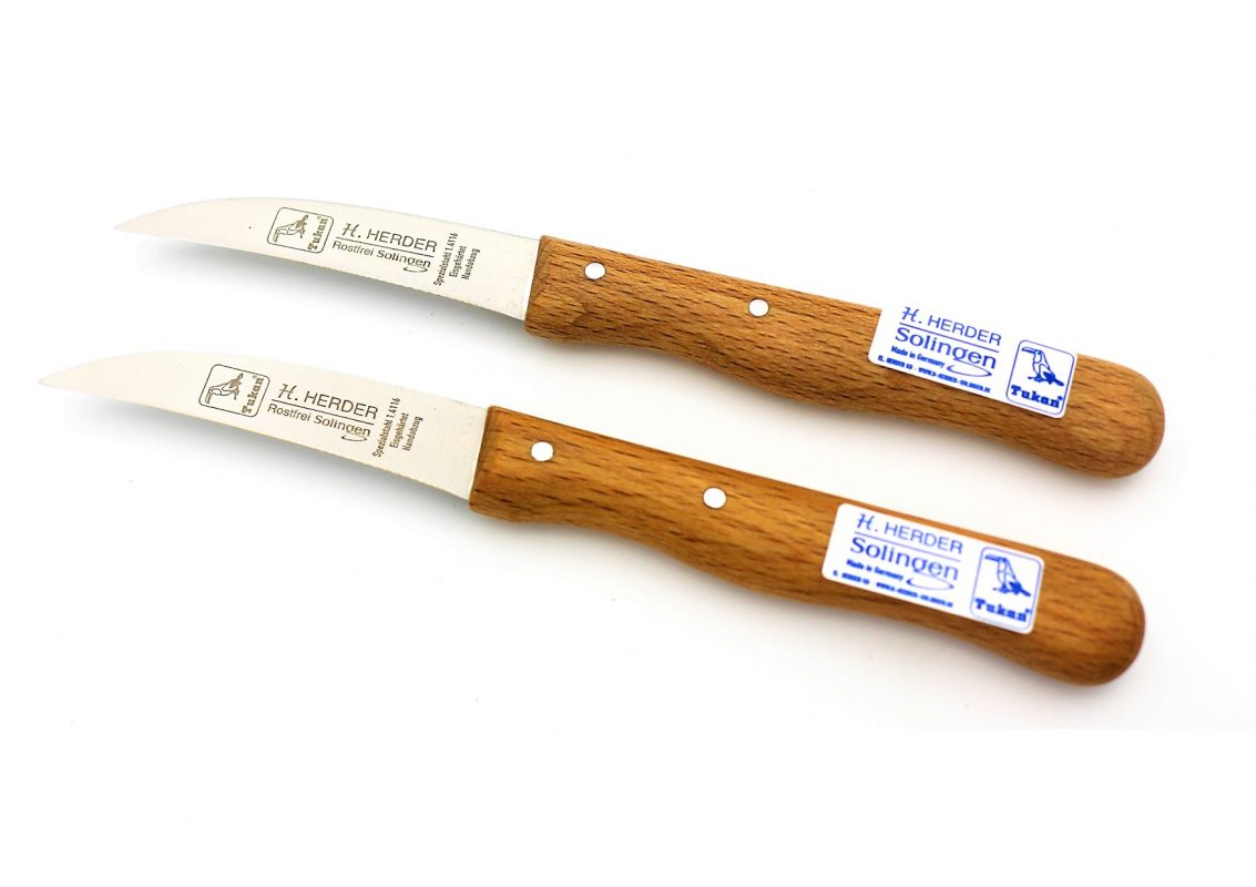2 Küchenmesser Buche-Holzgriff mit gebogener Klinge