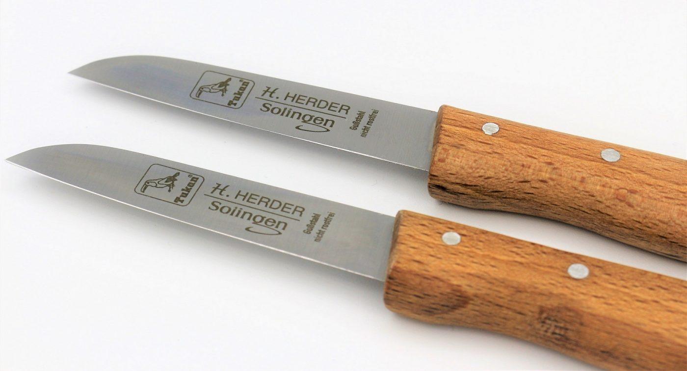 2 Küchenmesser mit Buche-Holzgriff Nicht Rostfrei